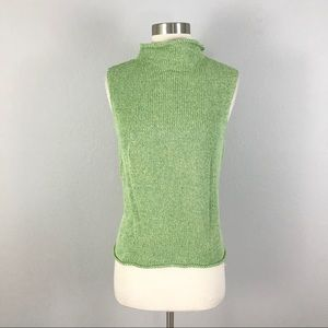 Eileen Fisher medium Mock Neck Sweater Top Green
